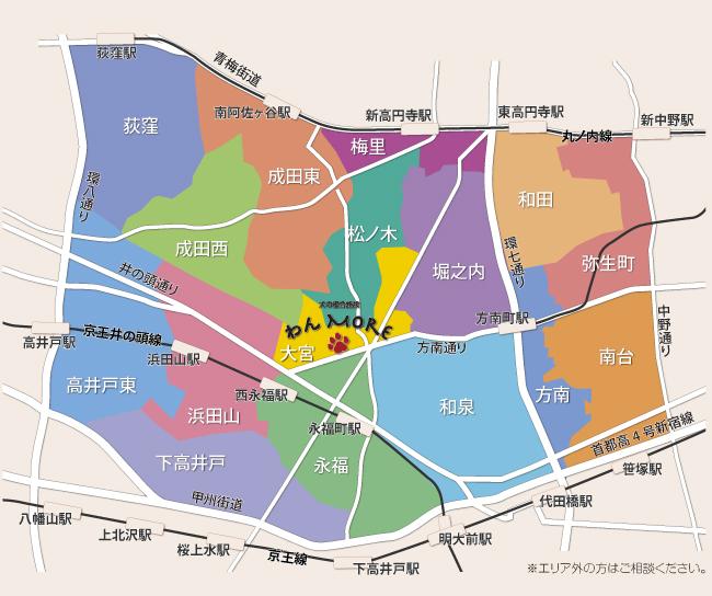 送迎範囲の地図